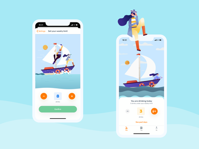 Less - mobile screenshots animation sailor desing animation 2d illustraion lessdrinking tracker drinks speed sailing wind sea clouds ships weather sailboat z1