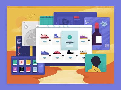 Ecommerce, the world's digital shop window buying online digital products online buy windows shopify ecommerce z1 illustration design