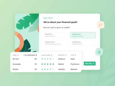Seeds — Investing Survey plants money digital product tool advisors sustainable investing values score wealth goals financial portfolio fintech startup investors impact investing survey seeds investors seeds