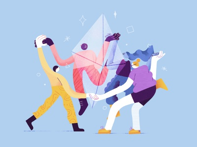 Partnerships Illustration confidence clients business trust collective build craft digital product studio collaboration cooperation diamond teamwork workmates partners partnerships startup digital products design illustration z1