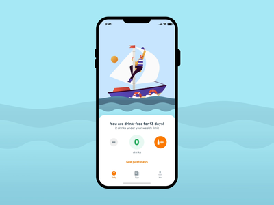 Less - Animation z1 sailboat weather ship clouds sea wind sailing speed drinks tracker lessdrinking illustration animation 2d design sailor animation