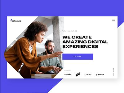 Pocketlab clean digital agency website homepage webdesign