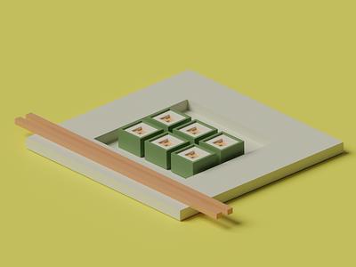 3D sushi tray sushitray tray sushi 3d blender3d blender 3dillustration