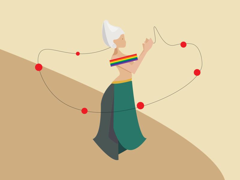 Lil rainbow girl turqoise dress white wig ball rainbow vector dream illustrator cc illustration design adobe