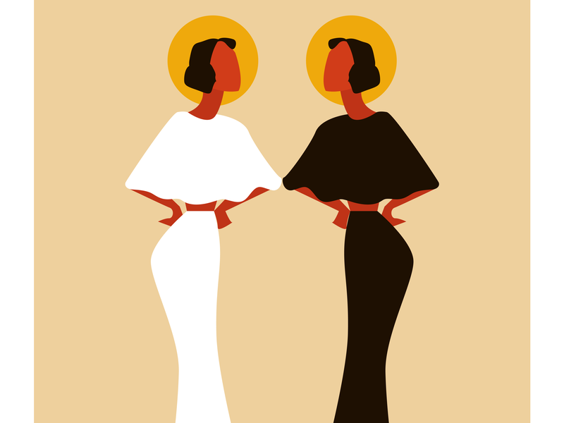 Angels pretty colorful colors design girl dream women tan orange vector illustrator cc illustration adobe