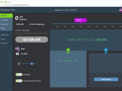 Indie Broadcaster Radio Dashboard - Go Live Idle Off Air State design dashboard ui sketch app web ux ui