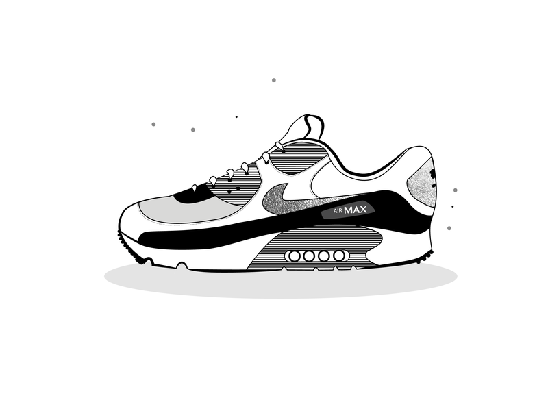 07 shoe nike air max monochrome vector illustration