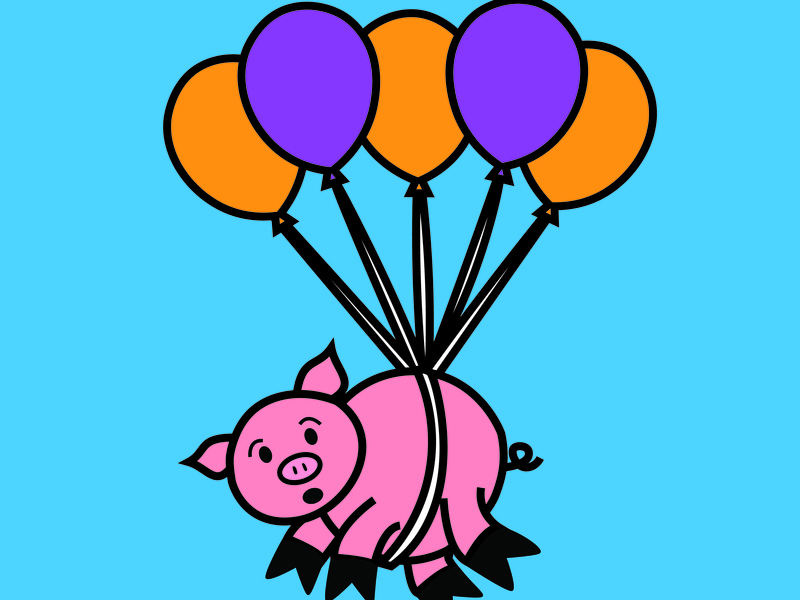 When Pigs Fly flying pig pig vector pun illustration idiom animal