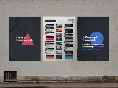 Melkweg Rewind bold design concepting fomo concert melkweg amsterdam print poster music