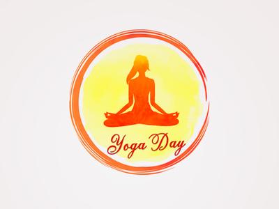 Watercolor design of yoga day
