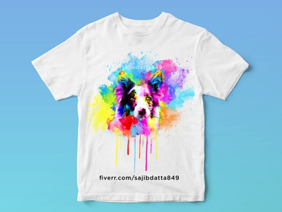 Watercolor t shirt design of dog