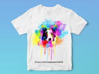 Watercolor t shirt design of dog