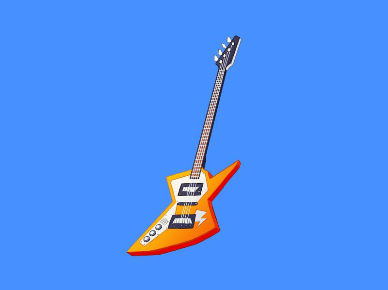 Guitar cartoon vintage concept clean art orange hand drawn painting music colorful animation artwork design guitar illustration icon
