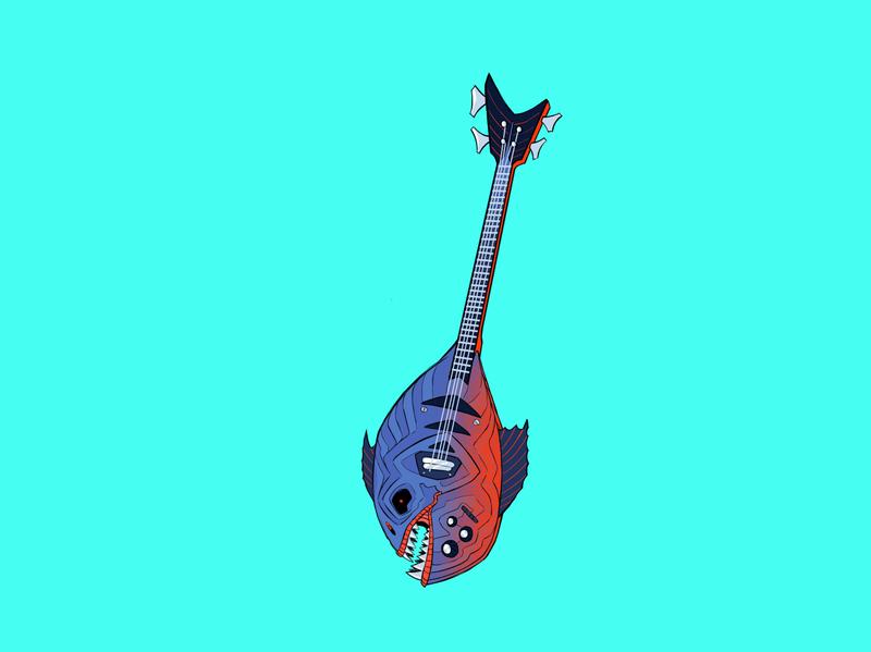 Fish Guitar character design animation graphic design 2d art art fish guitar cartoon 2d design colorful artwork icon illustration