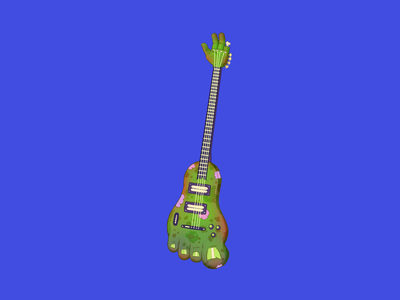 Zombie Guitar hand drawn drawing halloween art characters cartoon music weird funny colorful zombie artwork design icon illustration guitar