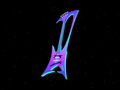 Alien Guitar graphic design cosmic fantasy alien science fiction artwork colorful cartoons logo design guitar icon design illustration icon