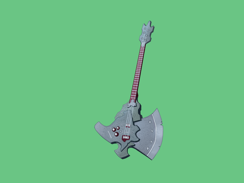 Axe Guitar property prop design game art ga weapon axe guitar cartoons artwork design icon illustration