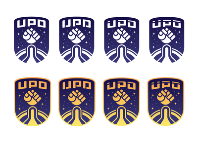 UPD Logo - Simplified mecha robot spaceship rockets spacex nasa insignia scifi galactic logo variations fist rocket punch planetary space colorful branding icon logo design logo