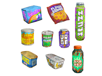 Apocalypse Food ux ui game design soda assets game art video game icon design icon snacks food items props illustration