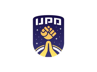 United Planetary Defense - Latest colorful cartoon punch fist logotype shield defense planetary united patch icon stars nasa space rocket fist insignia logo design