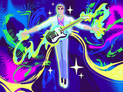 Idol Wizard animation anime pop art pop music idol magic abstract wizard cartoon guitar artwork character design illustration