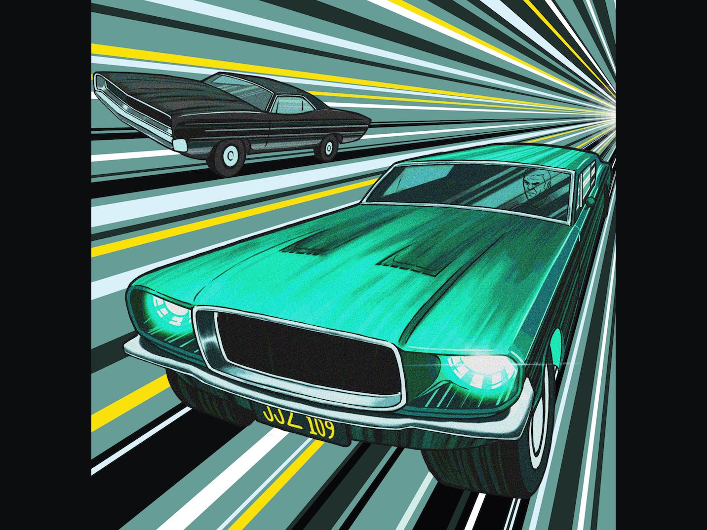 Steve McQueen Illustration: Bullitt muscle cars art poster movies bullitt steve mcqueen cars action illustration