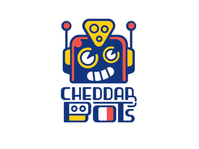 Cheddar Bot's cute toy mascot fast food restaurant cheese icon illustration robot typography branding logo design logo