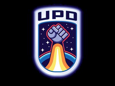 United Planetary Defense arcade colorful robot vintage typography crest stars insignia vector logo design design illustration nasa futurism space retro badge graphic icon logo