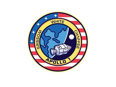 Apollo I Memorial Patch satellite shuttle rocket moon usa america illustration graphic badge patch space apollo nasa insignia icon logo design