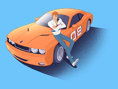 Illustration animation dodge challenger muscle car art cartoons character design car illustration