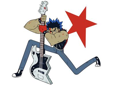 Punk Fighter tough converse punk rock guitar 2d icon artwork animation cartoon illustration character design