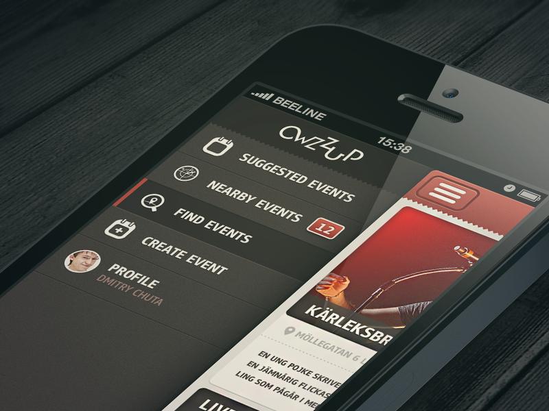 Owzzup App ios mobile ui ios design side menu menu ui design iphone odessa ukraine