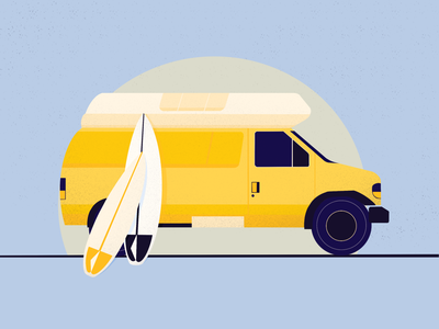 surf van yellow blue van surfboard surf procreate illustration art flat illustration graphic