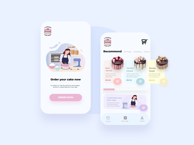 La Mignonne Cake Shop App user experience design user interface design vector app illustration design