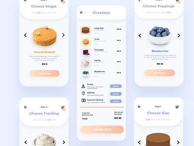 La Mignonne Cake Shop UI Design minimal ui ux user interface design user experience design illustration app design