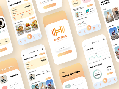 Weight Coach app appdesign minimal ui ux user interface design user experience design design app