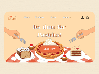 Just Baked Landing Page logo vector illustration web design design user interface design
