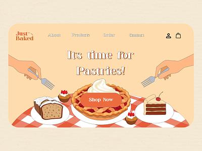 Just Baked Landing Page logo vector illustration web design design user interface design