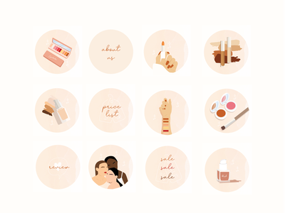 Makeup Instagram Highlight Covers instagram highlights design graphic design vector illustration