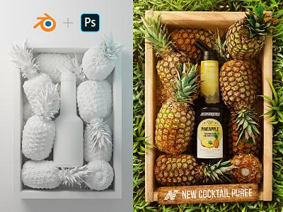 ADV Puree for cocktail NP1882 - Pineapple piña scene render pineapple 3d adverting cocktails digital retouching fruits nature blender photoshop packaging design