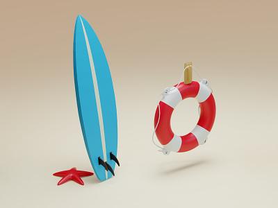 Beach details starfish star details beach miniature model illustration render blender low poly sea surf surf board life buoy 3d