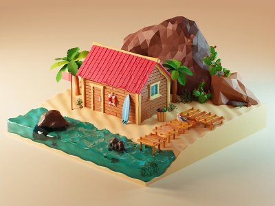 Beach Illustration scenery scene island miniature surf low poly lowpoly isometric summertime summer sea beach model diorama illustration blender 3d