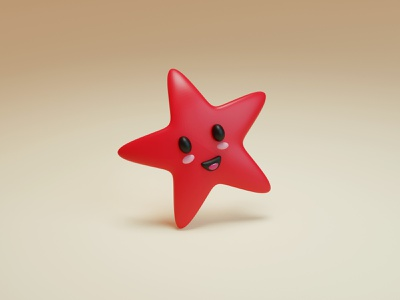 Starfish - Low poly mascot simple kawaii adorable lovely cartoon baby children illustration character design low poly emoticon smile happy cute star fish star blender 3d