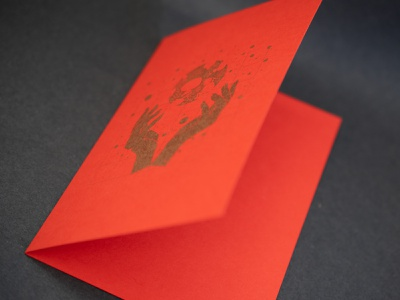 Craft – A6 folded card concept printing fsc paper gf smith gold ink grid magic hands support small businesses shop local etsy shop etsy gift christmas gift christmas red red paper card card design print design