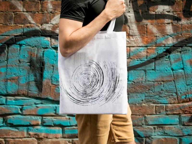 Sublunar Records tote bag tote bag design tote bag screen printing print design branding sublunar records techno independent label visual design visual identity