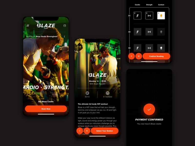 Blaze Studio ios app design red app ux health fitness web