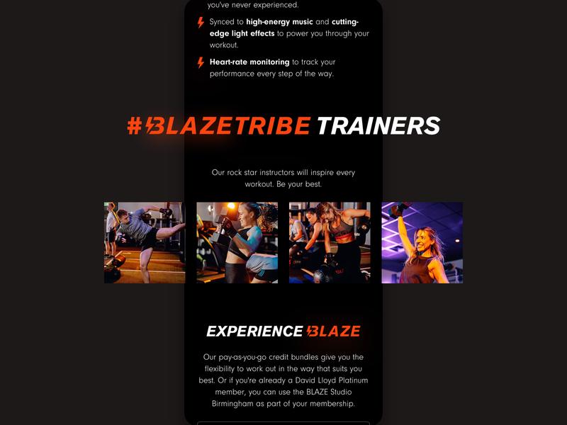 #BlazeTribe red homepage ux health fitness web