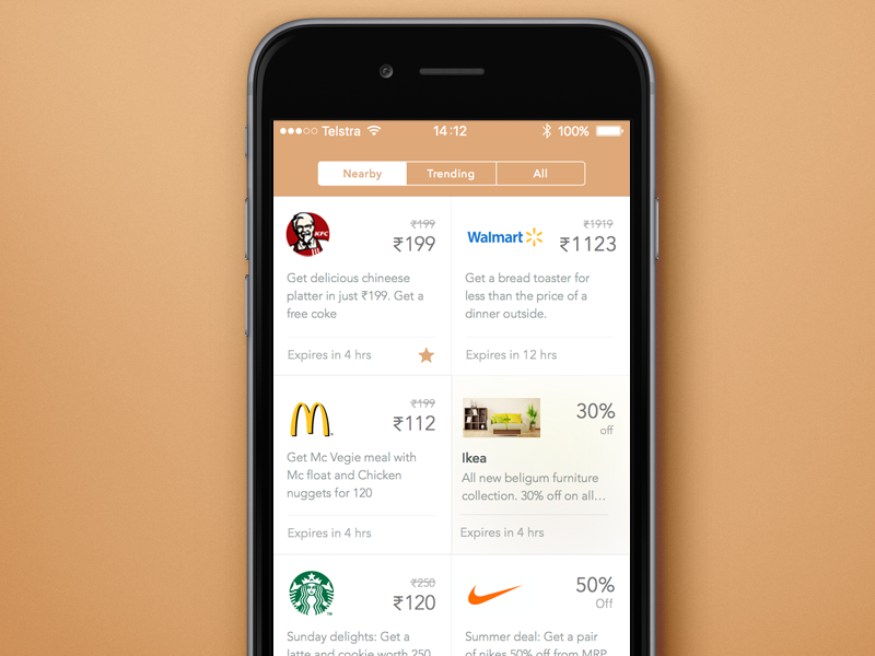 Physical Deals iOS app by Suganth | Dribbble | Dribbble