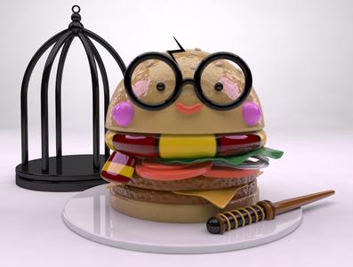Potter burger harrypotter burger cinema4d 3ddesign digital illustration creative art direction digital art illustration adobe digital artist design