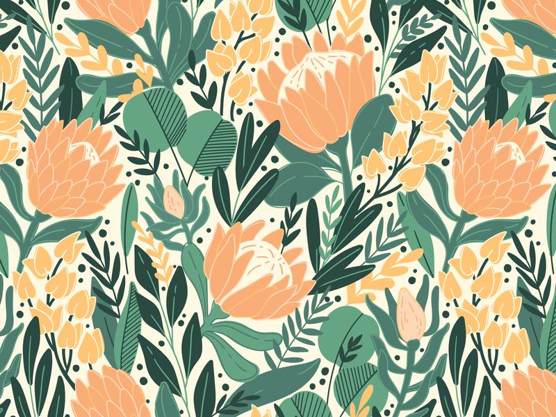 Protea pattern autumn jungle illustration exotic textile nature design bloom protea leaves blossom summer spring leaf floral flower vector seamless pattern